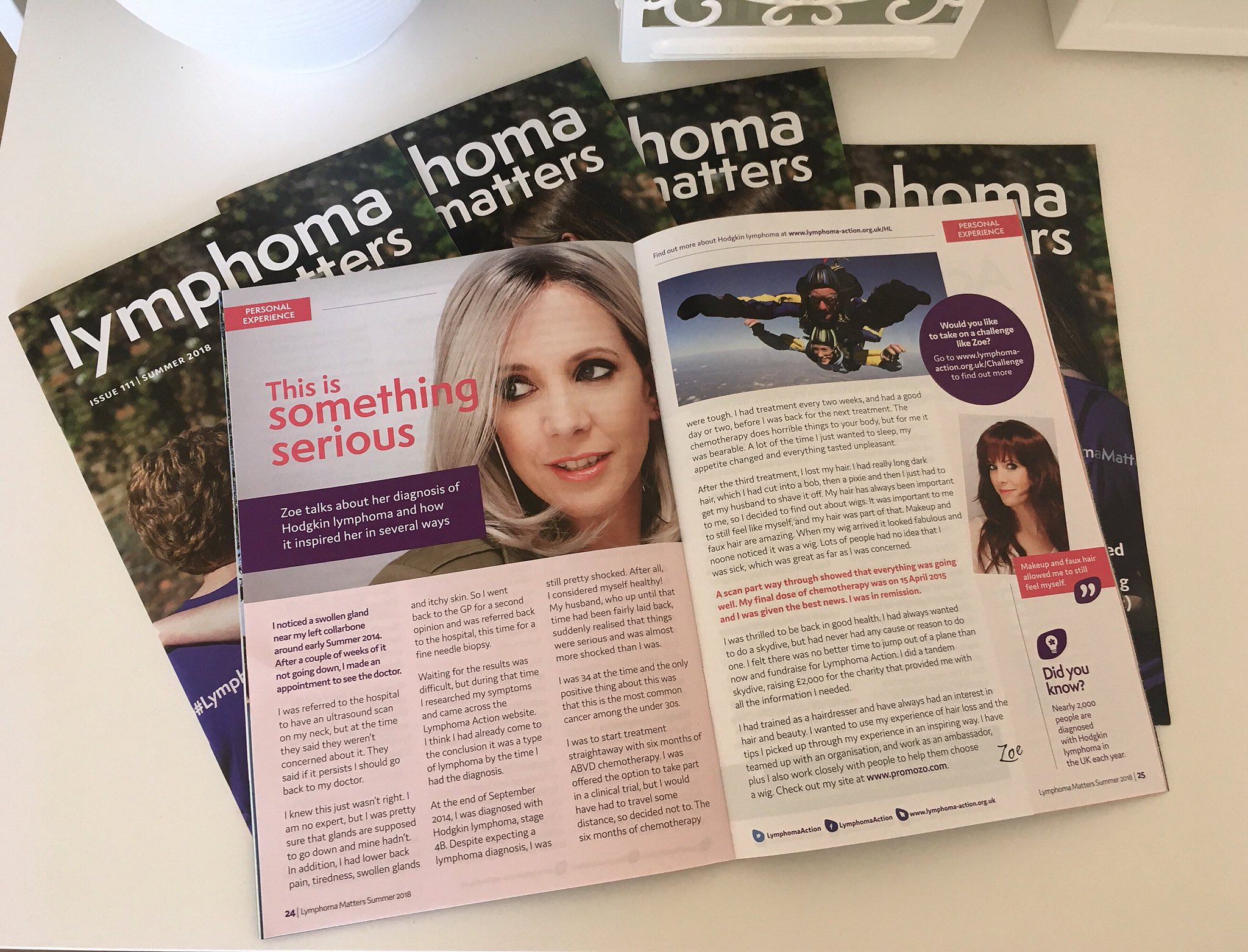 Lymphoma Matters, June issue, featuring my story -